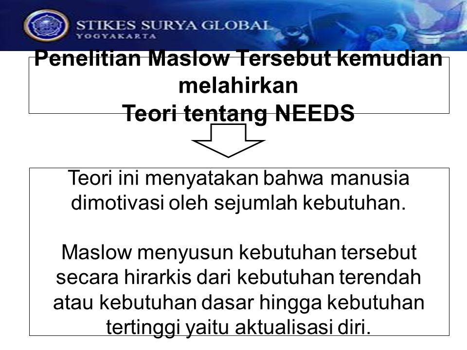 Teori ini menyatakan bahwa manusia dimotivasi oleh sejumlah kebutuhan. Maslow menyusun kebutuhan tersebut secara hirarkis dari kebutuhan terendah atau