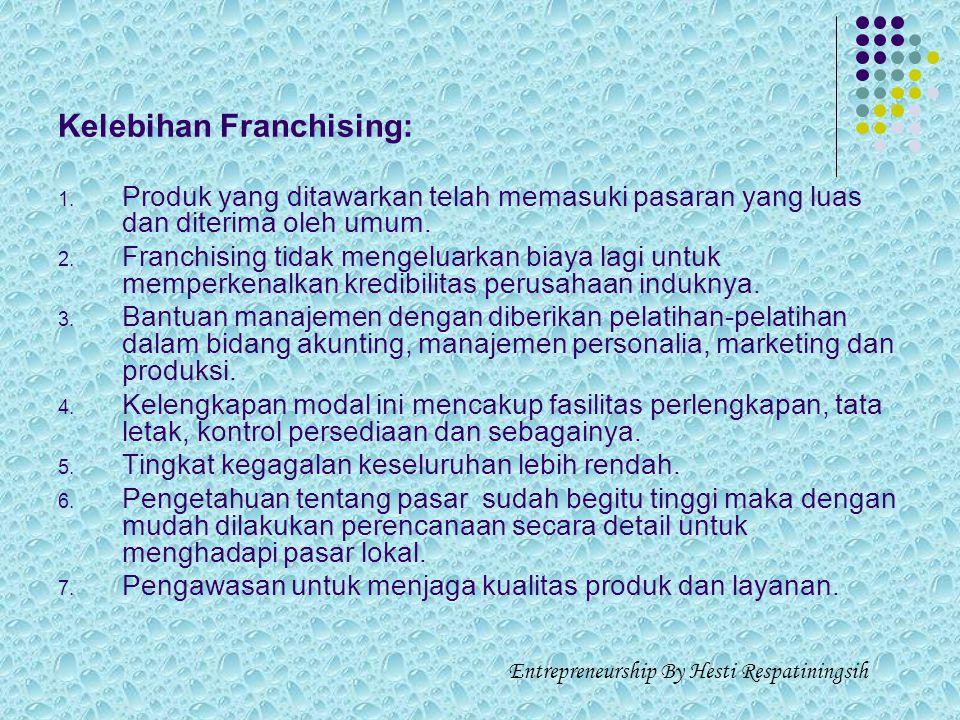 E. FRANCHISING (WARALABA) Franchising adalah sistem pemasaran yang berkisar pada dua belah pihak yang terikat perjanjian legal, yang karenanya franchi