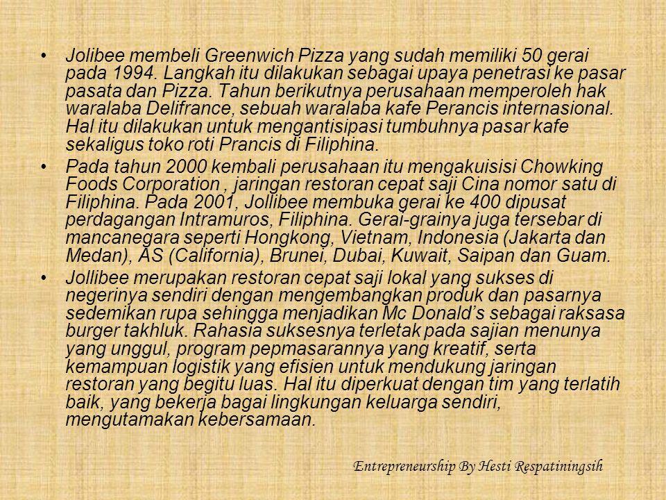 Jolibee membeli Greenwich Pizza yang sudah memiliki 50 gerai pada 1994.