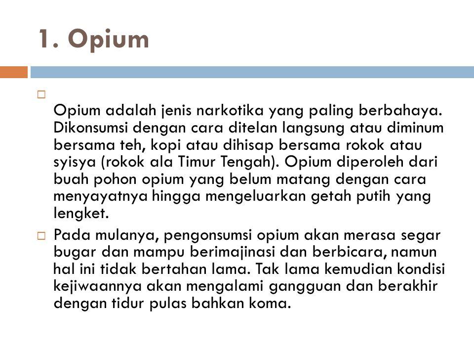 1. Opium  Opium adalah jenis narkotika yang paling berbahaya. Dikonsumsi dengan cara ditelan langsung atau diminum bersama teh, kopi atau dihisap ber