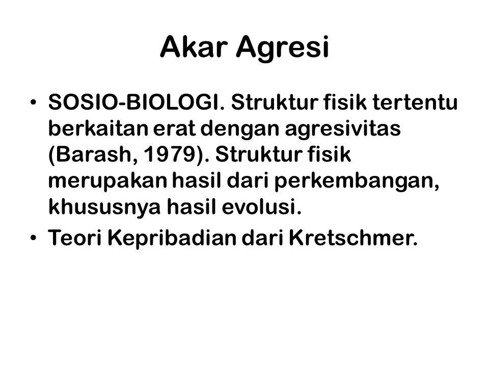 Akar Agresi SOSIO-BIOLOGI. Struktur fisik tertentu berkaitan erat dengan agresivitas (Barash, 1979). Struktur fisik merupakan hasil dari perkembangan,