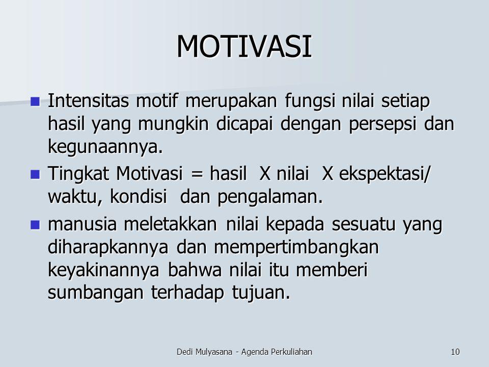 MOTIVASI Intensitas motif merupakan fungsi nilai setiap hasil yang mungkin dicapai dengan persepsi dan kegunaannya. Intensitas motif merupakan fungsi