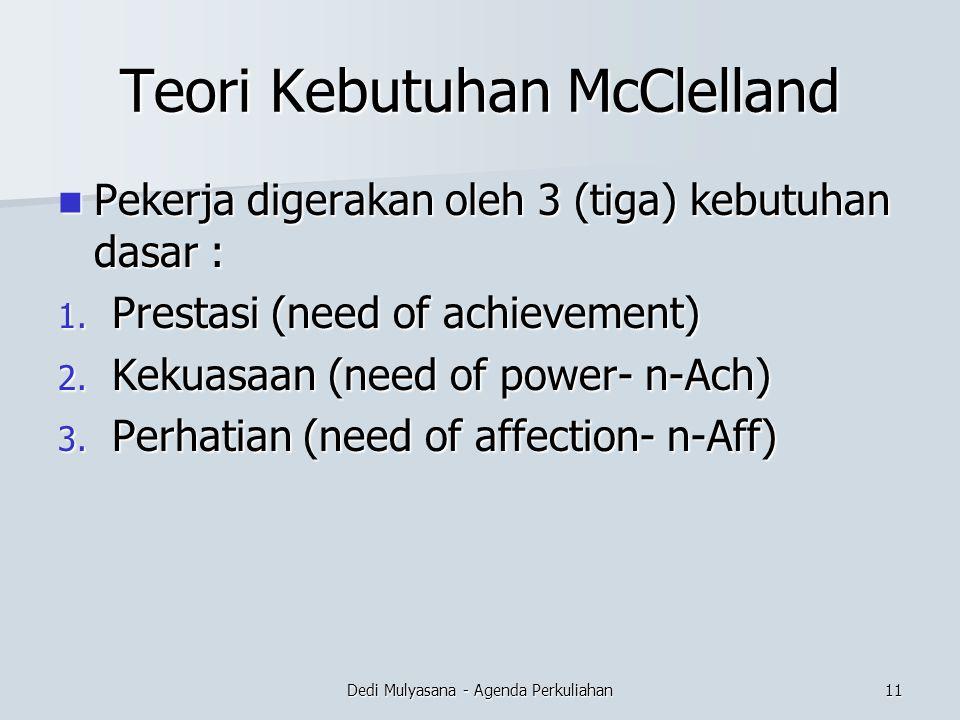 Teori Kebutuhan McClelland Pekerja digerakan oleh 3 (tiga) kebutuhan dasar : Pekerja digerakan oleh 3 (tiga) kebutuhan dasar : 1. Prestasi (need of ac