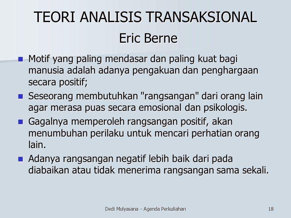 TEORI ANALISIS TRANSAKSIONAL Eric Berne Motif yang paling mendasar dan paling kuat bagi manusia adalah adanya pengakuan dan penghargaan secara positif
