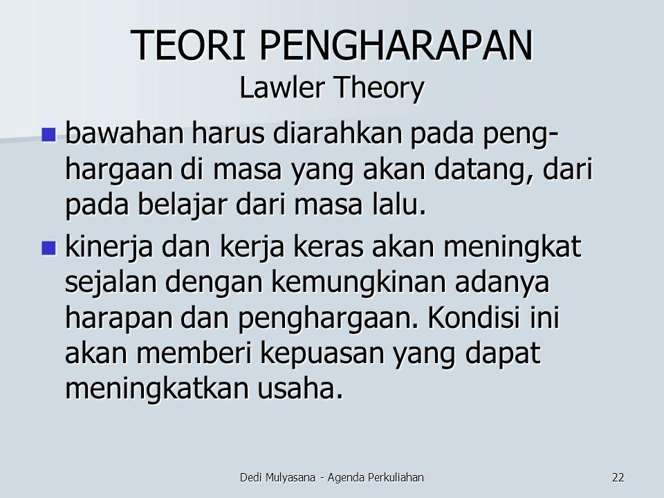 TEORI PENGHARAPAN Lawler Theory bawahan harus diarahkan pada peng- hargaan di masa yang akan datang, dari pada belajar dari masa lalu. bawahan harus d