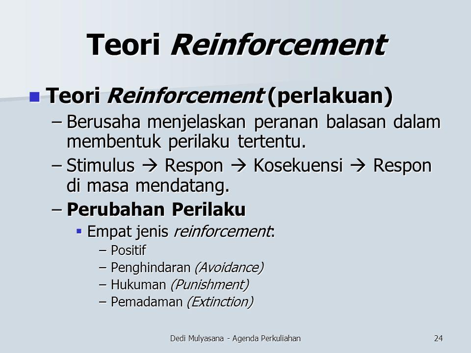 Dedi Mulyasana - Agenda Perkuliahan Teori Reinforcement Teori Reinforcement (perlakuan) Teori Reinforcement (perlakuan) –Berusaha menjelaskan peranan