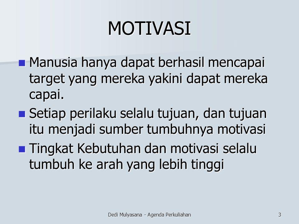 Dedi Mulyasana - Agenda Perkuliahan TEORI MOTIVASI –Material Motivations  Motivasi seseorang tumbuh karena alasan uang atbekerja adalah unu pendapatan.