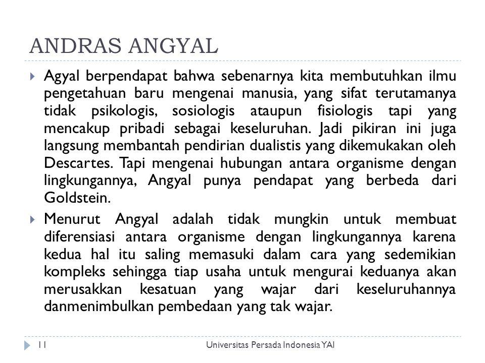 ANDRAS ANGYAL Universitas Persada Indonesia YAI11  Agyal berpendapat bahwa sebenarnya kita membutuhkan ilmu pengetahuan baru mengenai manusia, yang s