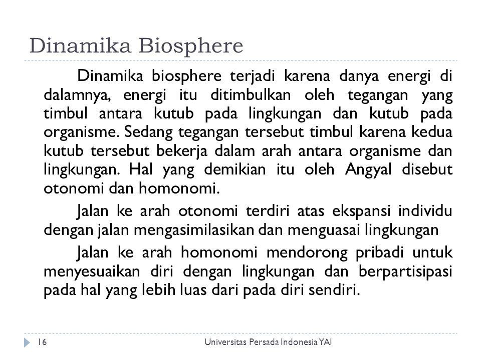 Dinamika Biosphere Universitas Persada Indonesia YAI16 Dinamika biosphere terjadi karena danya energi di dalamnya, energi itu ditimbulkan oleh teganga