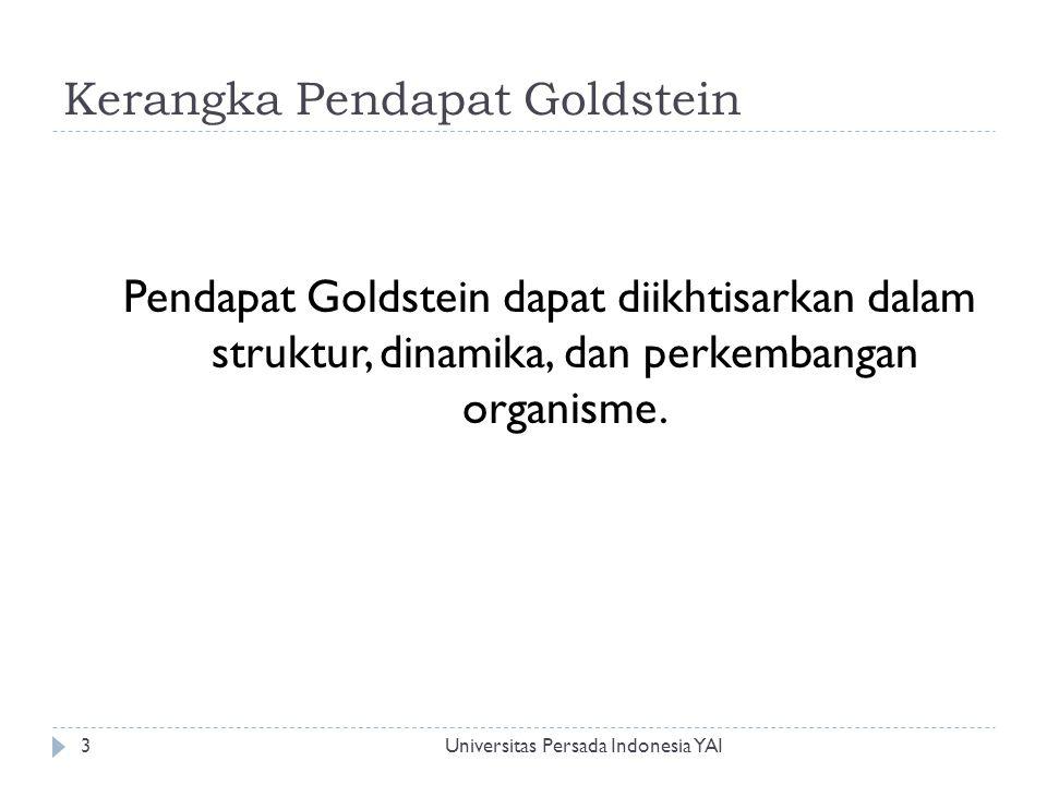 Kerangka Pendapat Goldstein Universitas Persada Indonesia YAI3 Pendapat Goldstein dapat diikhtisarkan dalam struktur, dinamika, dan perkembangan organ