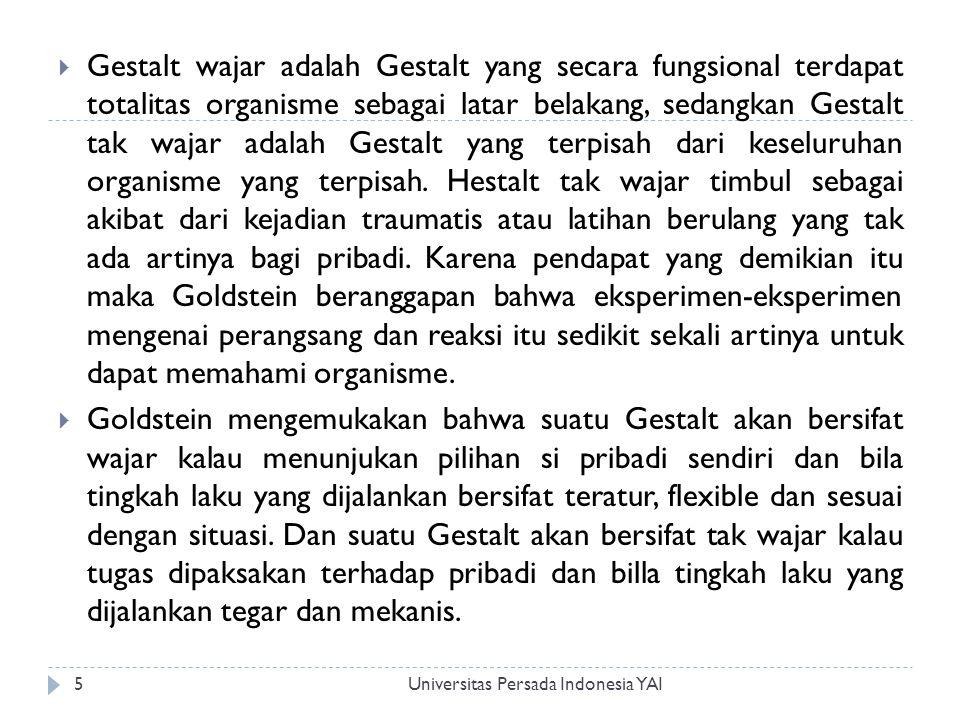 Universitas Persada Indonesia YAI5  Gestalt wajar adalah Gestalt yang secara fungsional terdapat totalitas organisme sebagai latar belakang, sedangka