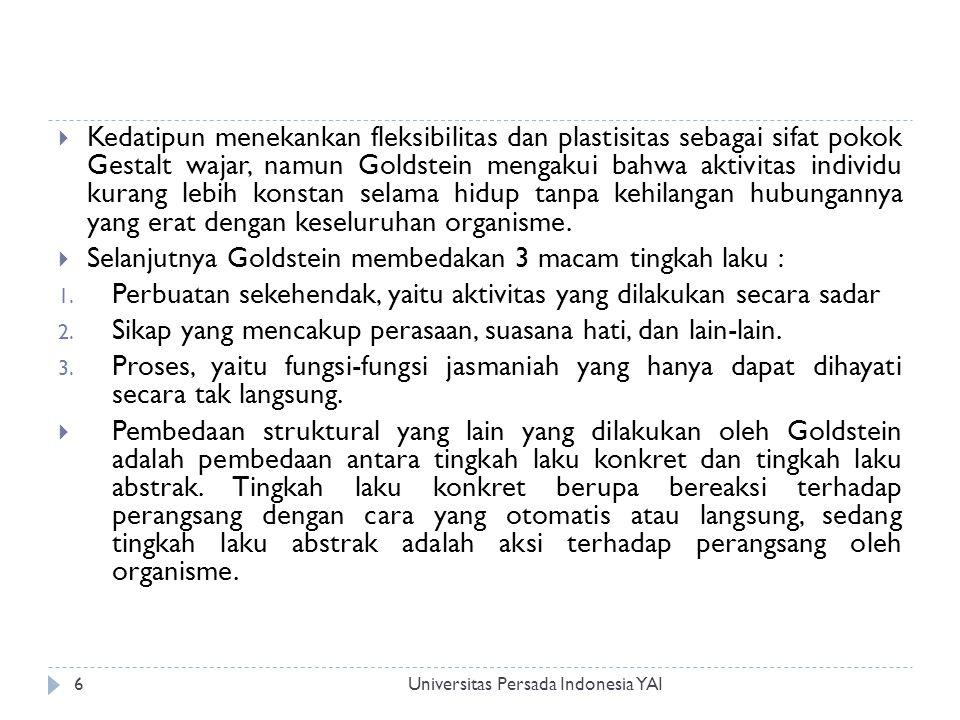 Universitas Persada Indonesia YAI6  Kedatipun menekankan fleksibilitas dan plastisitas sebagai sifat pokok Gestalt wajar, namun Goldstein mengakui ba
