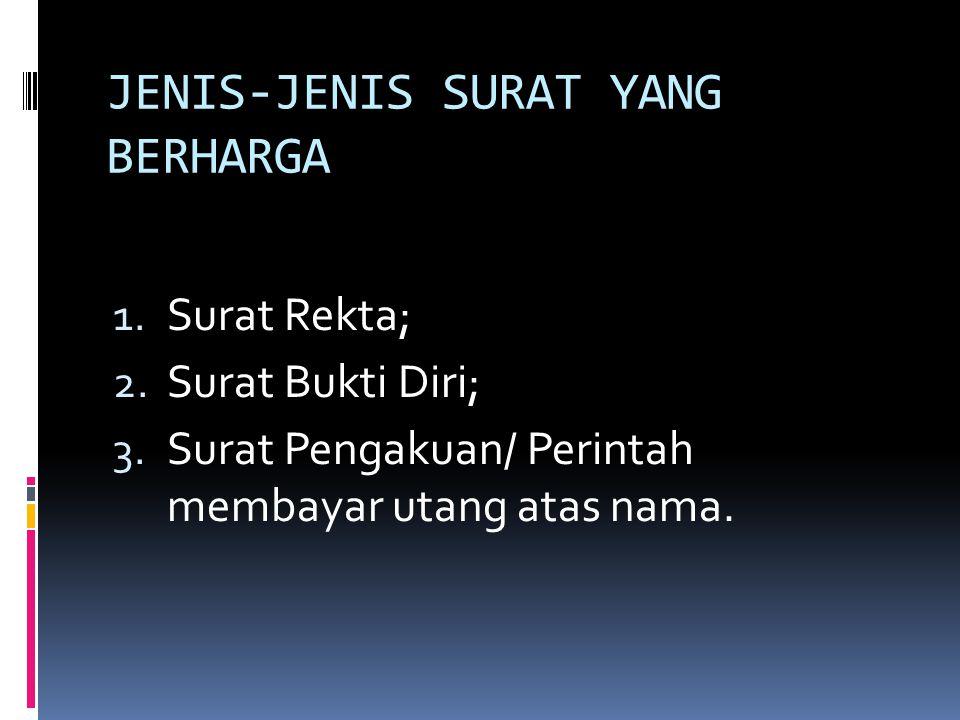 JENIS-JENIS SURAT YANG BERHARGA 1.Surat Rekta; 2.
