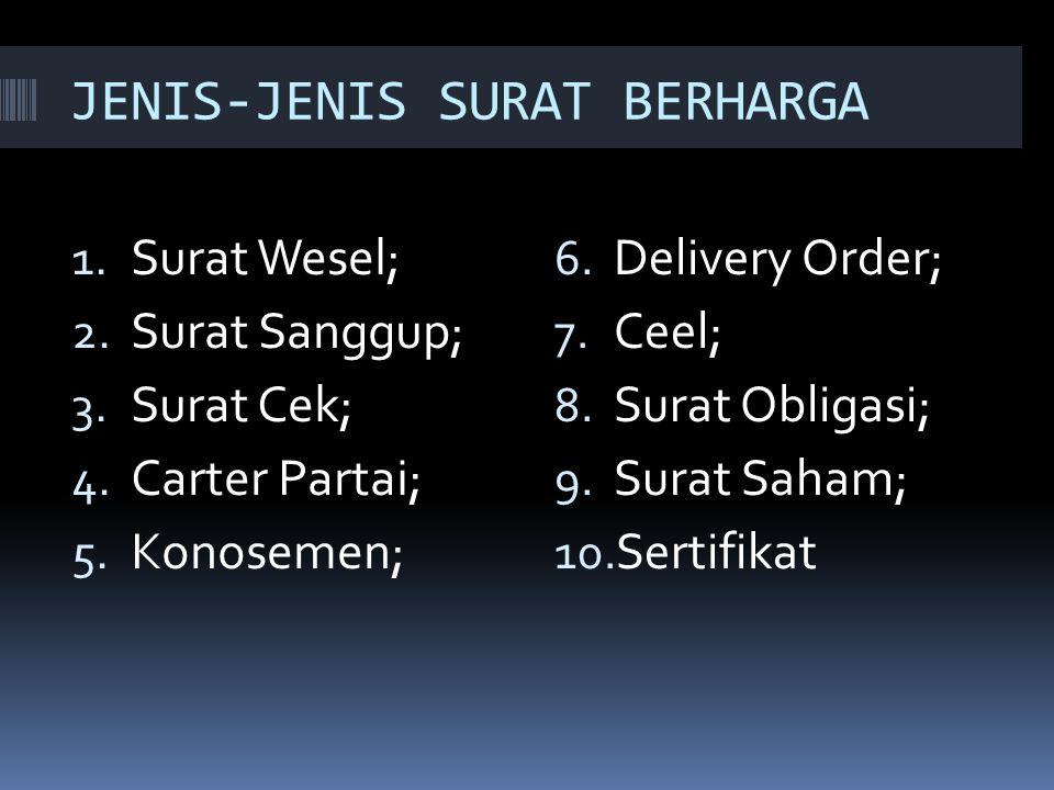 JENIS-JENIS SURAT BERHARGA 1.Surat Wesel; 2. Surat Sanggup; 3.
