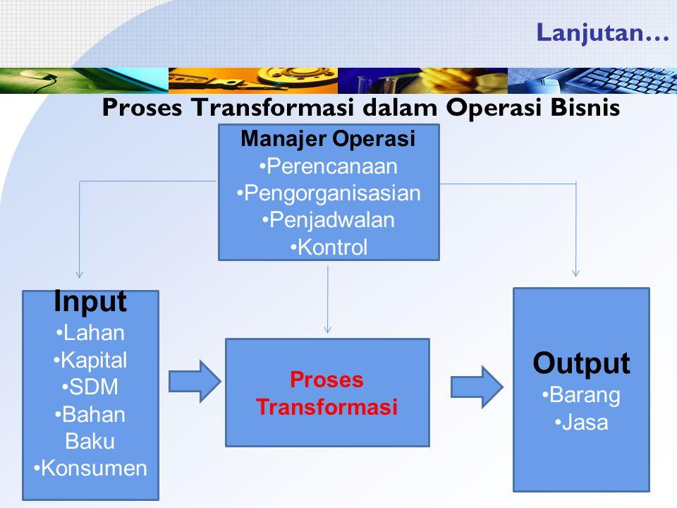 Lanjutan… Proses Transformasi dalam Operasi Bisnis Manajer Operasi Perencanaan Pengorganisasian Penjadwalan Kontrol Input Lahan Kapital SDM Bahan Baku Konsumen Proses Transformasi Output Barang Jasa