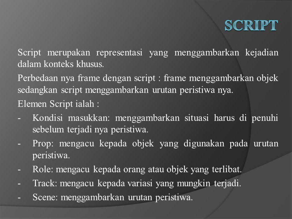 Script merupakan representasi yang menggambarkan kejadian dalam konteks khusus.