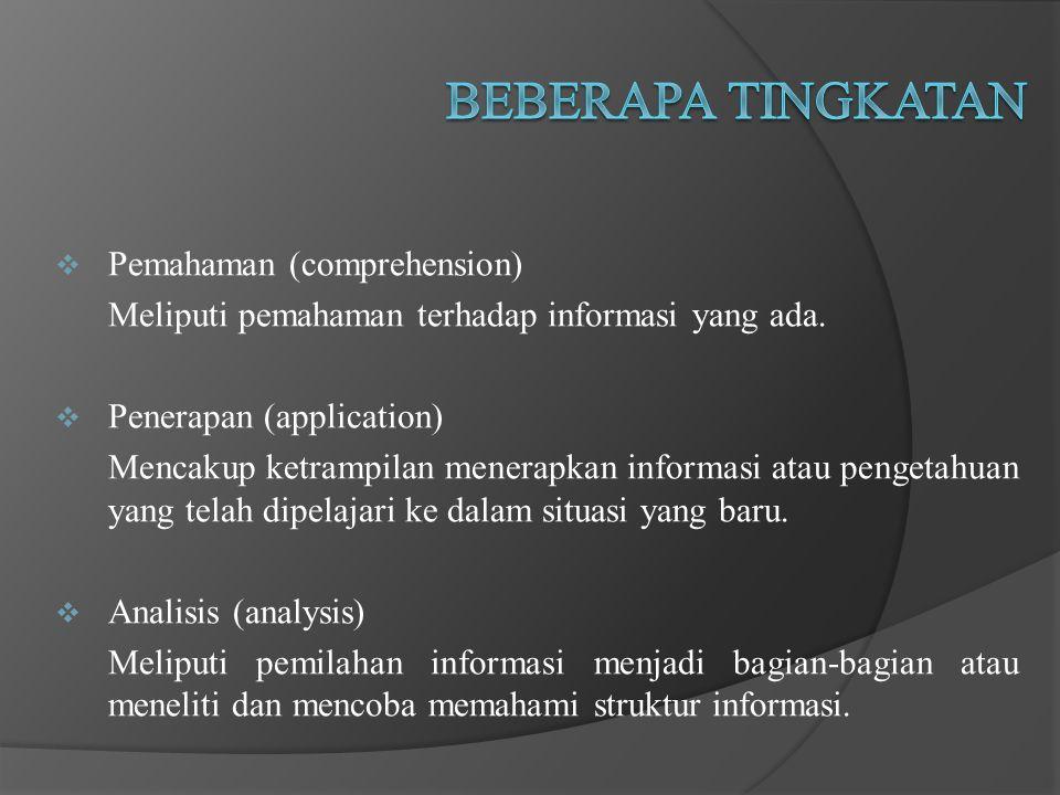 Pemahaman (comprehension) Meliputi pemahaman terhadap informasi yang ada.