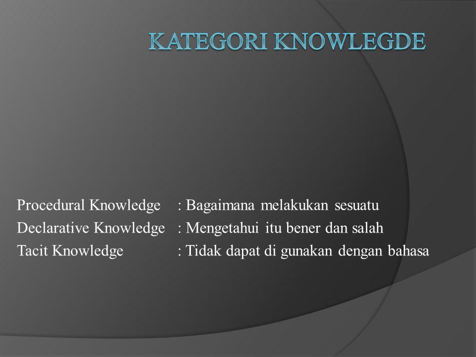 Procedural Knowledge : Bagaimana melakukan sesuatu Declarative Knowledge : Mengetahui itu bener dan salah Tacit Knowledge : Tidak dapat di gunakan dengan bahasa