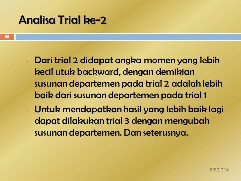 Analisa Trial ke-2 Dari trial 2 didapat angka momen yang lebih kecil utuk backward, dengan demikian susunan departemen pada trial 2 adalah lebih baik dari susunan departemen pada trial 1 Untuk mendapatkan hasil yang lebih baik lagi dapat dilakukan trial 3 dengan mengubah susunan departemen.