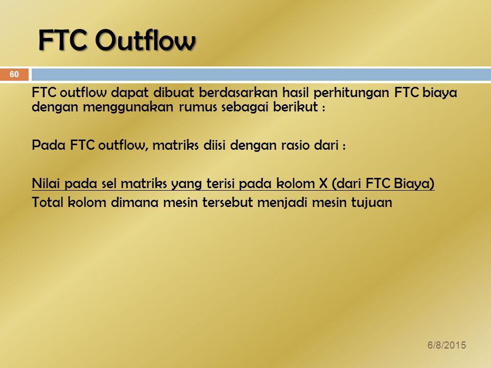 FTC Outflow FTC outflow dapat dibuat berdasarkan hasil perhitungan FTC biaya dengan menggunakan rumus sebagai berikut : Pada FTC outflow, matriks diisi dengan rasio dari : Nilai pada sel matriks yang terisi pada kolom X (dari FTC Biaya) Total kolom dimana mesin tersebut menjadi mesin tujuan 6/8/2015 60