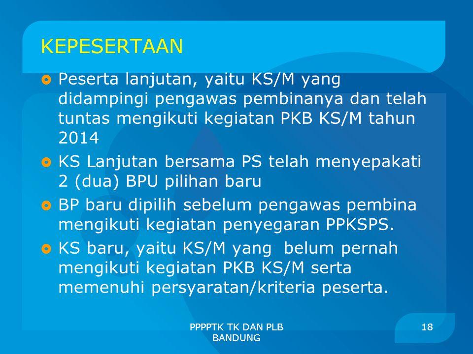 KEPESERTAAN  Peserta lanjutan, yaitu KS/M yang didampingi pengawas pembinanya dan telah tuntas mengikuti kegiatan PKB KS/M tahun 2014  KS Lanjutan b