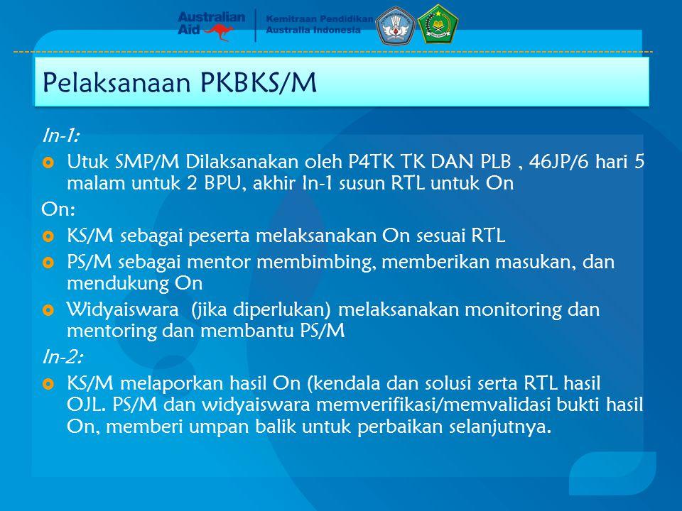 In-1:  Utuk SMP/M Dilaksanakan oleh P4TK TK DAN PLB, 46JP/6 hari 5 malam untuk 2 BPU, akhir In-1 susun RTL untuk On On:  KS/M sebagai peserta melaks