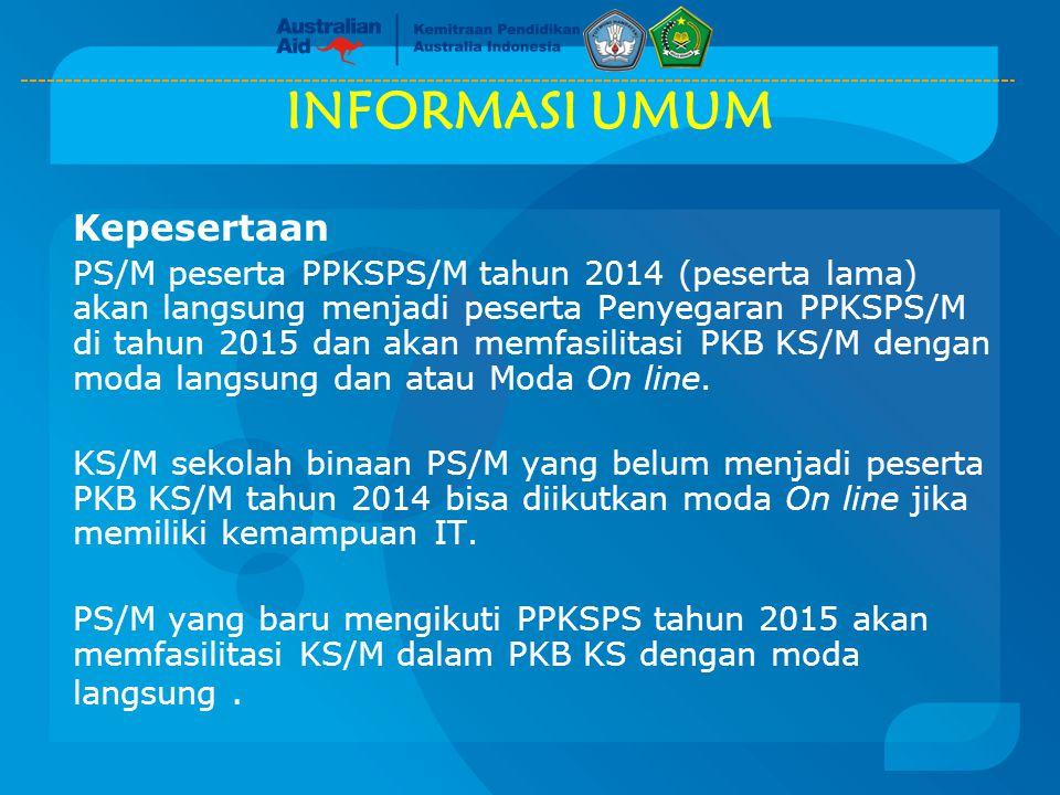 INFORMASI UMUM Kepesertaan PS/M peserta PPKSPS/M tahun 2014 (peserta lama) akan langsung menjadi peserta Penyegaran PPKSPS/M di tahun 2015 dan akan me