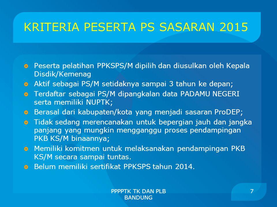 KRITERIA PESERTA PS SASARAN 2015  Peserta pelatihan PPKSPS/M dipilih dan diusulkan oleh Kepala Disdik/Kemenag  Aktif sebagai PS/M setidaknya sampai