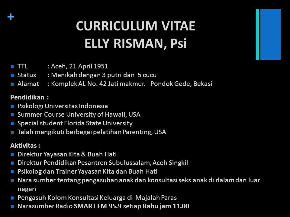 + CURRICULUM VITAE ELLY RISMAN, Psi TTL: Aceh, 21 April 1951 Status: Menikah dengan 3 putri dan 5 cucu Alamat: Komplek AL No. 42 Jati makmur. Pondok G