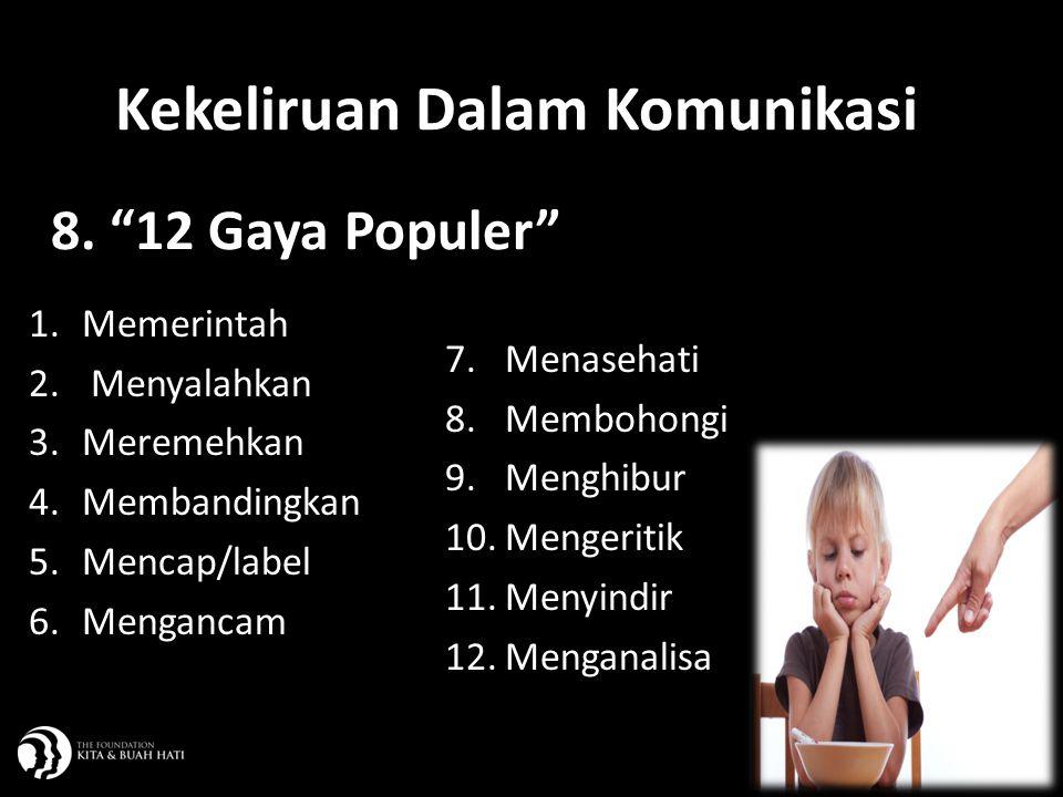 """10 8. """"12 Gaya Populer"""" 1.Memerintah 2. Menyalahkan 3.Meremehkan 4.Membandingkan 5.Mencap/label 6.Mengancam 7.Menasehati 8.Membohongi 9.Menghibur 10.M"""