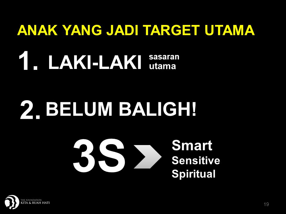 19 ANAK YANG JADI TARGET UTAMA BELUM BALIGH! LAKI-LAKI sasaran utama Smart Sensitive Spiritual 3S 1. 2.