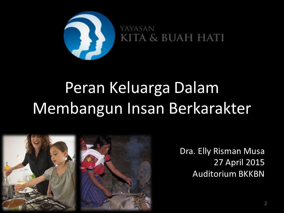 2 Peran Keluarga Dalam Membangun Insan Berkarakter Dra. Elly Risman Musa 27 April 2015 Auditorium BKKBN