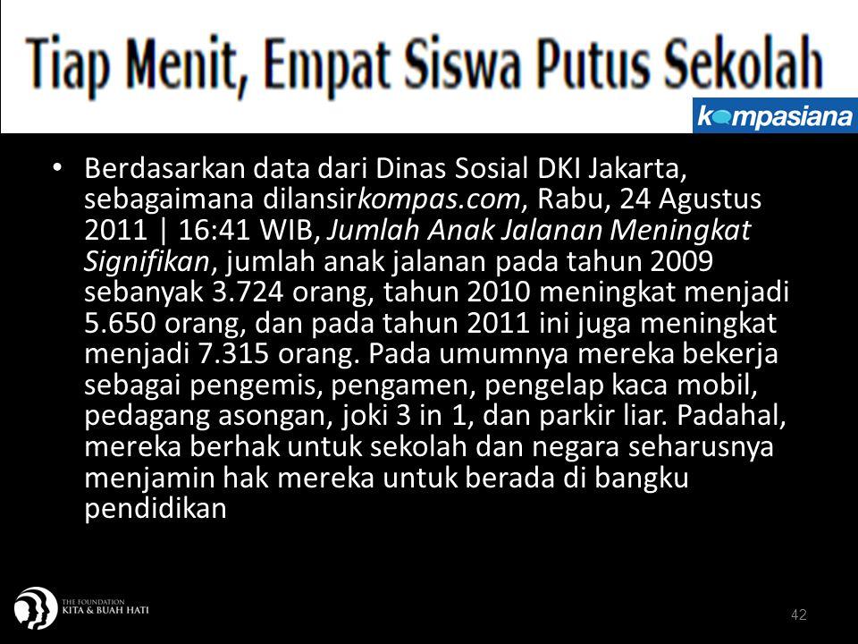42 Berdasarkan data dari Dinas Sosial DKI Jakarta, sebagaimana dilansirkompas.com, Rabu, 24 Agustus 2011 | 16:41 WIB, Jumlah Anak Jalanan Meningkat Si
