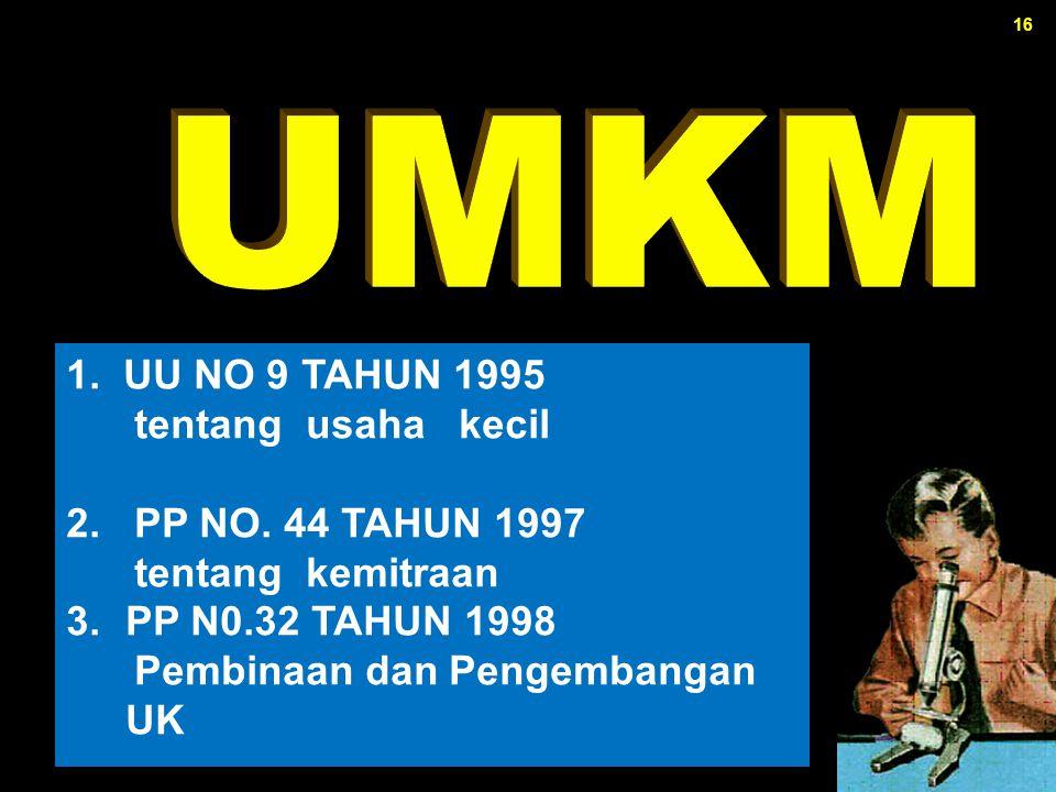 16 1. UU NO 9 TAHUN 1995 tentang usaha kecil 2. PP NO. 44 TAHUN 1997 tentang kemitraan 3.PP N0.32 TAHUN 1998 Pembinaan dan Pengembangan UK