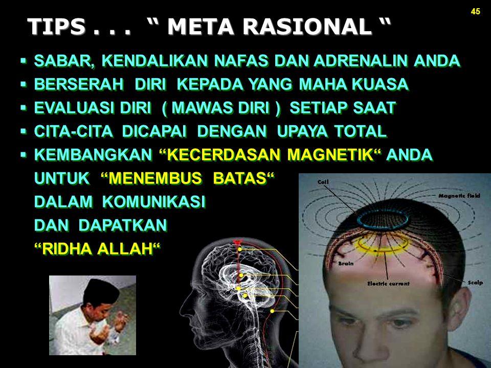 """45 TIPS... """" META RASIONAL """" TIPS... """" META RASIONAL """"  SABAR, KENDALIKAN NAFAS DAN ADRENALIN ANDA  BERSERAH DIRI KEPADA YANG MAHA KUASA  EVALUASI"""