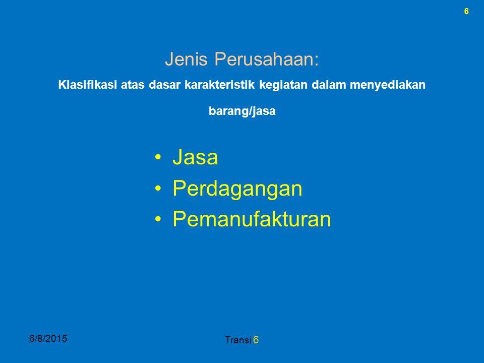 6 6/8/2015 Transi 6 Jenis Perusahaan: Jasa Perdagangan Pemanufakturan Klasifikasi atas dasar karakteristik kegiatan dalam menyediakan barang/jasa