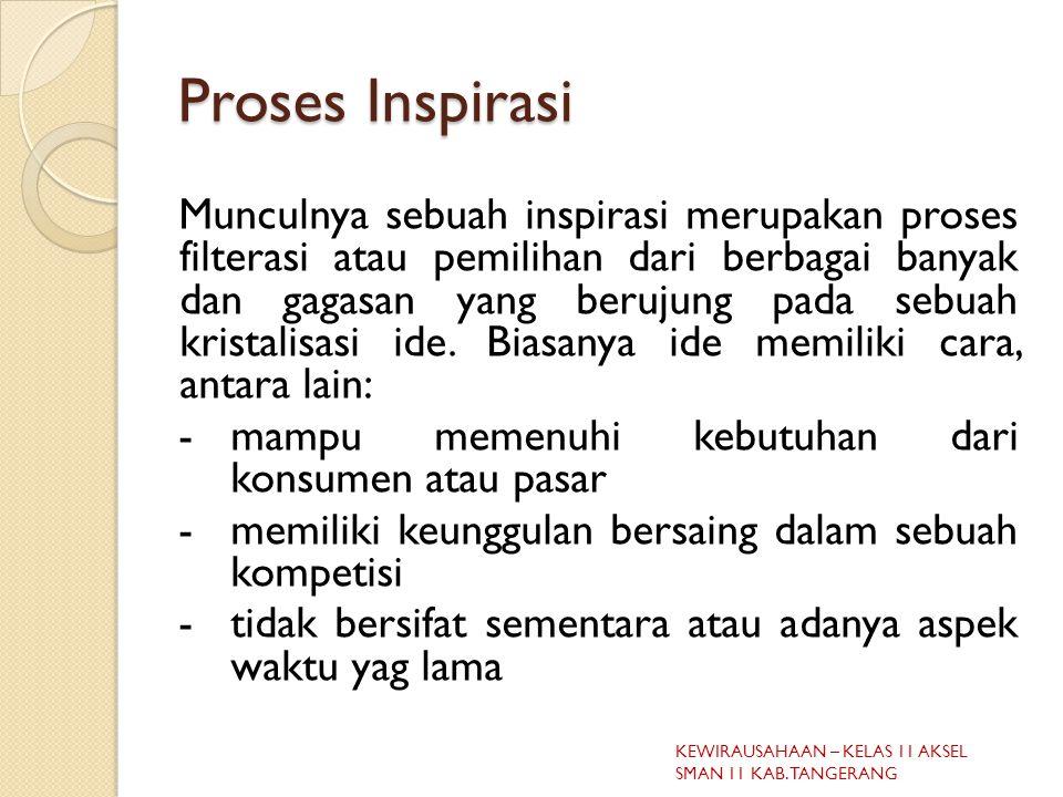 Proses Inspirasi Munculnya sebuah inspirasi merupakan proses filterasi atau pemilihan dari berbagai banyak dan gagasan yang berujung pada sebuah kristalisasi ide.