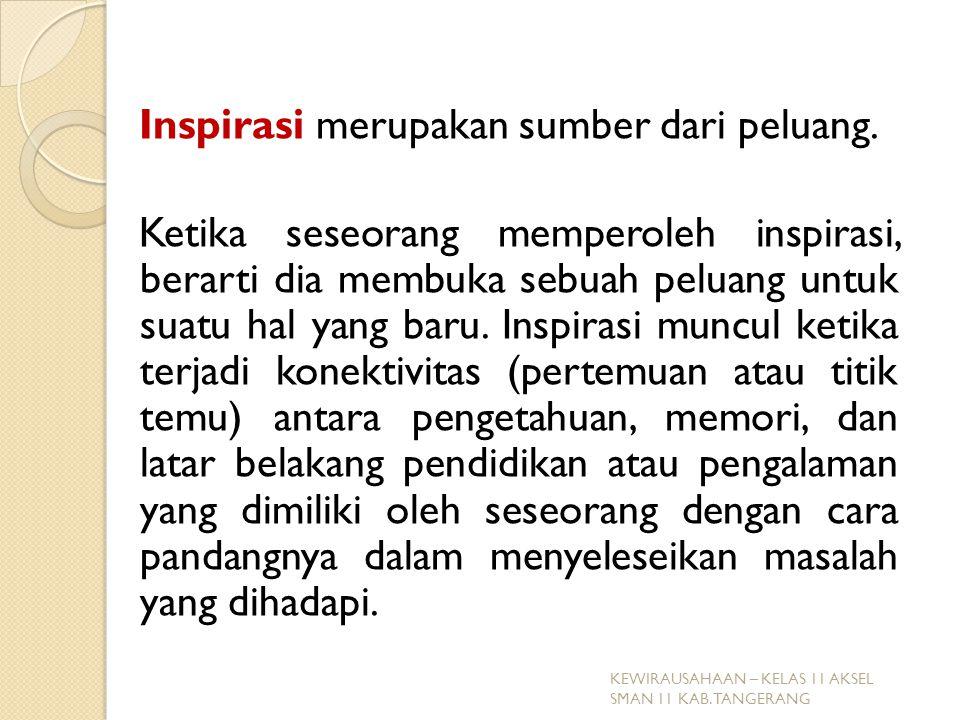 Inspirasi merupakan sumber dari peluang.