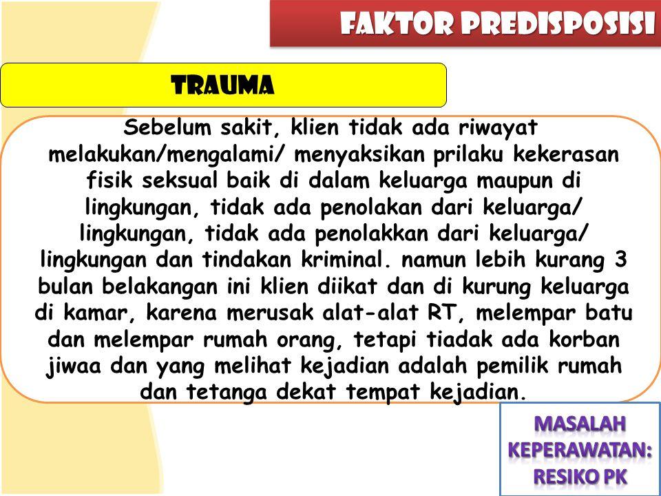 faktor predisposisi trauma Sebelum sakit, klien tidak ada riwayat melakukan/mengalami/ menyaksikan prilaku kekerasan fisik seksual baik di dalam kelua
