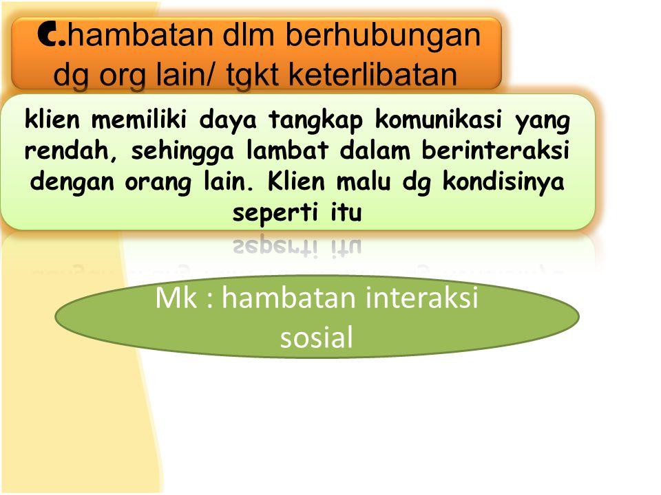 Mk : hambatan interaksi sosial