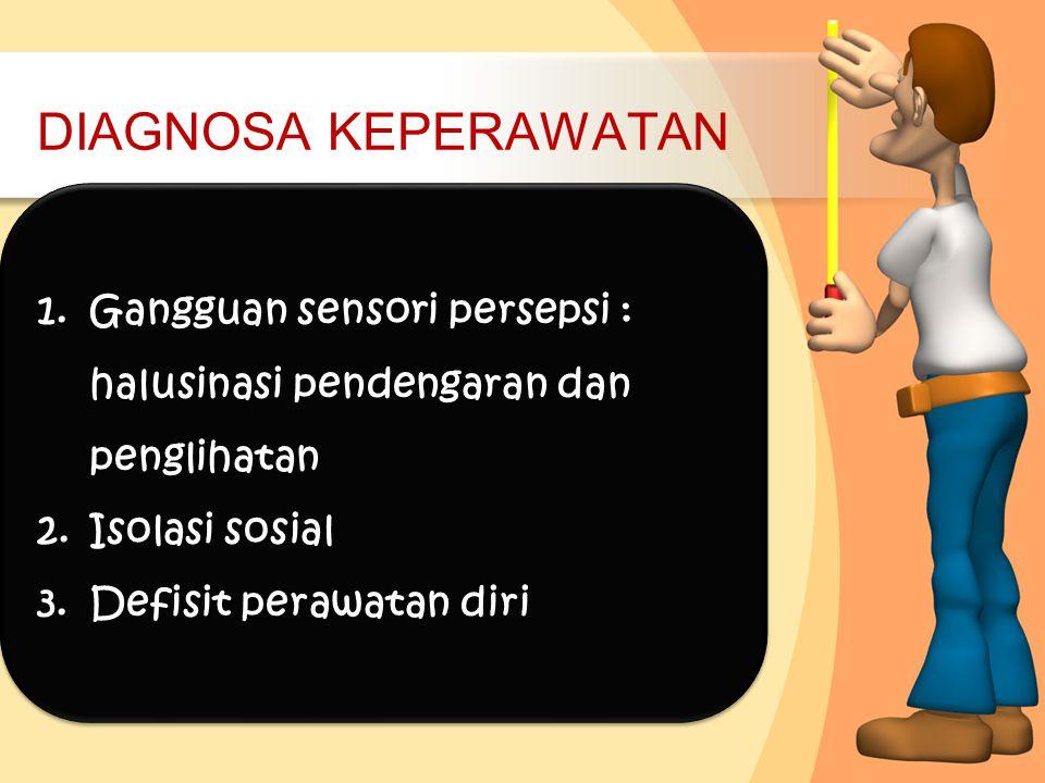 DIAGNOSA KEPERAWATAN 1.Gangguan sensori persepsi : halusinasi pendengaran dan penglihatan 2.Isolasi sosial 3.Defisit perawatan diri 1.Gangguan sensori