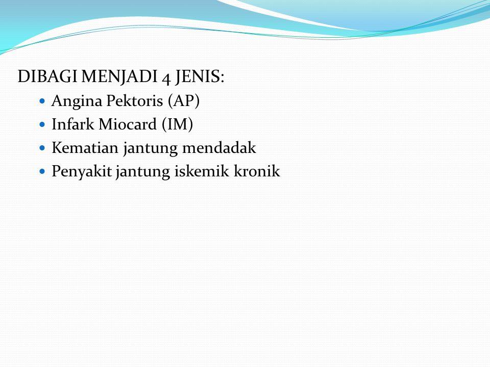 DIBAGI MENJADI 4 JENIS: Angina Pektoris (AP) Infark Miocard (IM) Kematian jantung mendadak Penyakit jantung iskemik kronik