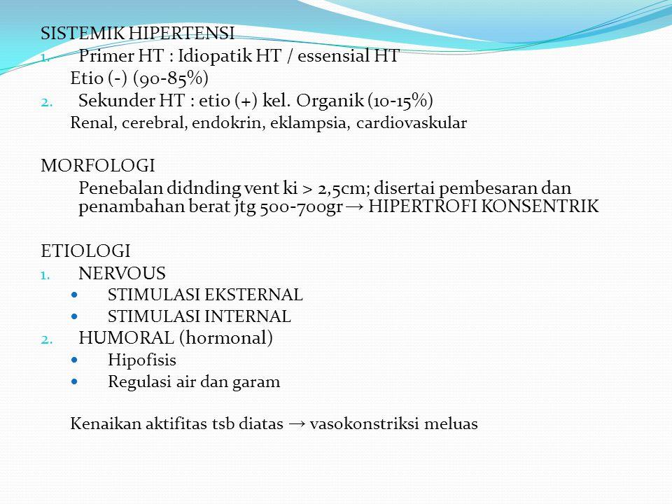 SISTEMIK HIPERTENSI 1. Primer HT : Idiopatik HT / essensial HT Etio (-) (90-85%) 2. Sekunder HT : etio (+) kel. Organik (10-15%) Renal, cerebral, endo