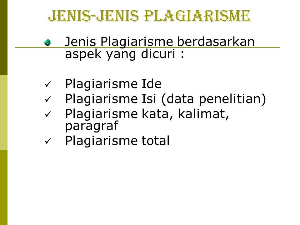 JENIS-JENIS PLAGIARISME Jenis Plagiarisme berdasarkan aspek yang dicuri : Plagiarisme Ide Plagiarisme Isi (data penelitian) Plagiarisme kata, kalimat, paragraf Plagiarisme total