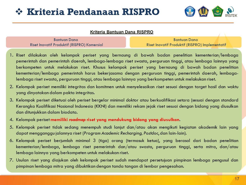 17 Bantuan Dana Riset Inovatif Produktif (RISPRO) Komersial Bantuan Dana Riset Inovatif Produktif (RISPRO) Implementatif  Kriteria Pendanaan RISPRO K
