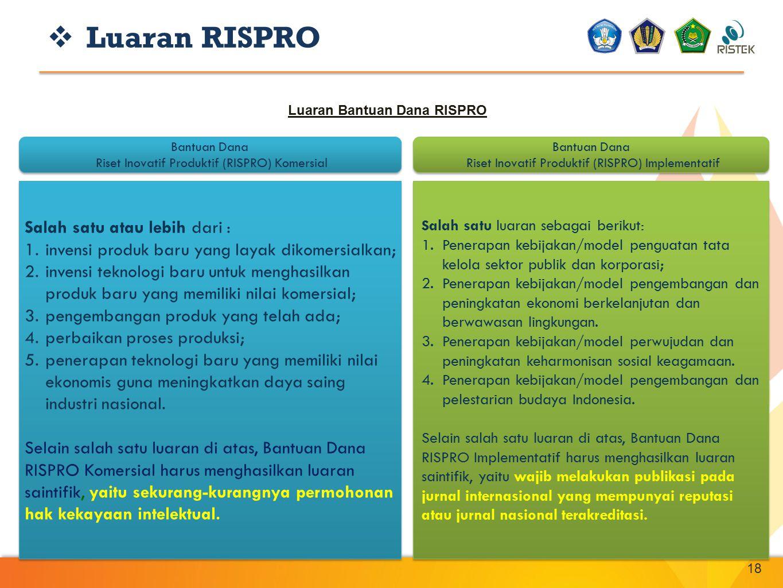 18 Bantuan Dana Riset Inovatif Produktif (RISPRO) Komersial Bantuan Dana Riset Inovatif Produktif (RISPRO) Komersial Bantuan Dana Riset Inovatif Produ
