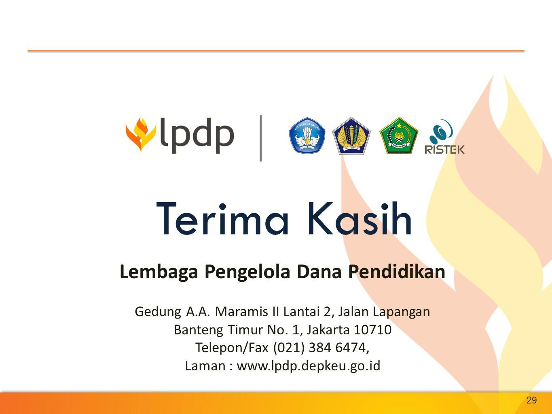 29 Terima Kasih Lembaga Pengelola Dana Pendidikan Gedung A.A. Maramis II Lantai 2, Jalan Lapangan Banteng Timur No. 1, Jakarta 10710 Telepon/Fax (021)