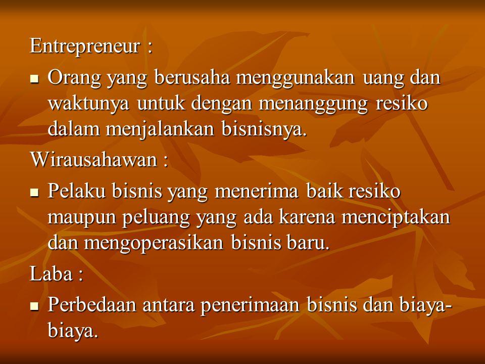 "ENTREPRENEURSHIP J.B. SAY (1803) J.B. SAY (1803) "" Kemampuan memindahkan sumberdaya ekonomi dari kawasan produktivitas rendah ke kawasan produktivitas"