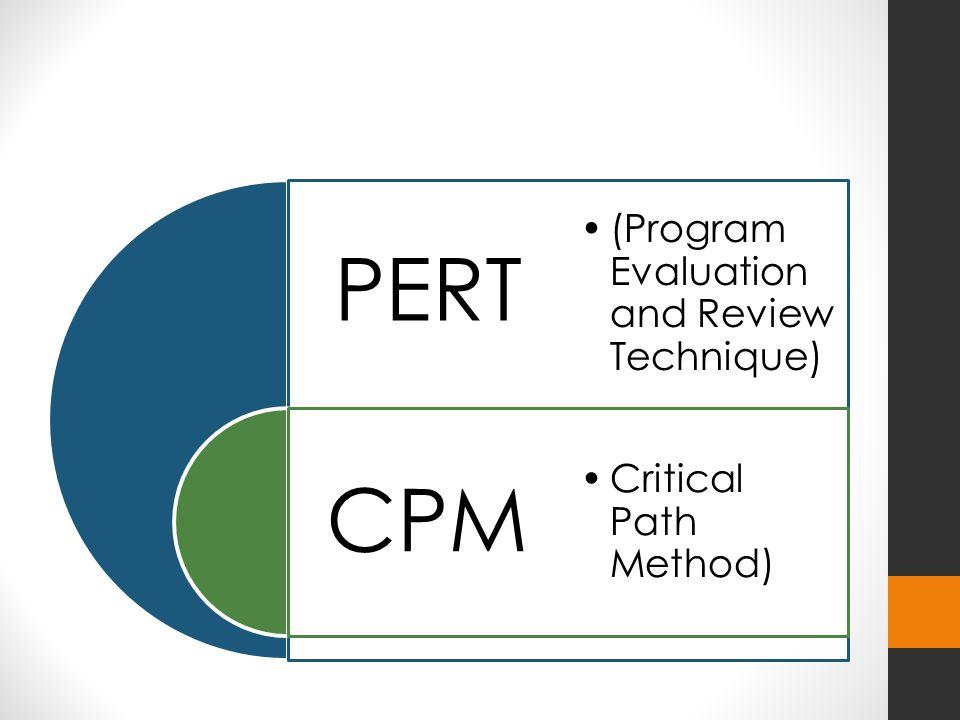 PERT CPM (Program Evaluation and Review Technique) Critical Path Method)