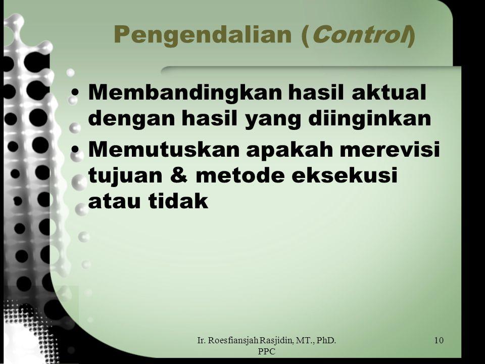 Ir. Roesfiansjah Rasjidin, MT., PhD. PPC 10 Pengendalian (Control) Membandingkan hasil aktual dengan hasil yang diinginkan Memutuskan apakah merevisi